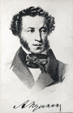 Vintage portraoit of Russian poet Alexander Pushkin Stock Images