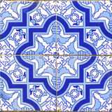 Vintage portuguese blue tiles Stock Photos