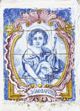 Vintage portuguese tiles. With saint john Stock Images