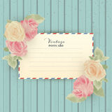 Vintage posrcard with roses. Retro vector illustration with  grunge background Stock Image
