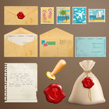 Vintage post. Vintage postcards with post stamps and other elements Stock Photography
