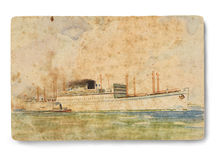 Vintage post card. Spain post card Circa 1949. Line cruise of the time from Europe to South America. Clipping path Royalty Free Stock Photography