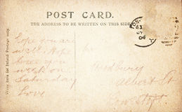 Vintage Post Card back with Handwritten Stock Image