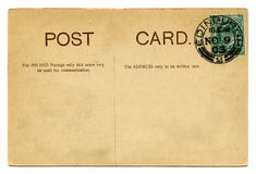 Vintage Post Card. A vintage postcard over a plain white background Stock Photo