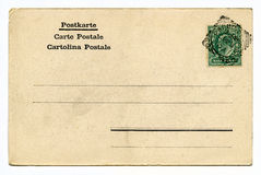 Vintage Post Card. A vintage postcard over a plain white background Royalty Free Stock Photography