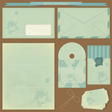 Vintage post set - Retro envelopes and postcards Royalty Free Stock Photography