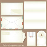 Vintage post set - Retro envelopes and postcards Stock Image