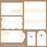 Vintage post set - Retro envelopes and postcards Stock Image