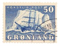 Vintage postage stamp. Greenland postage stamp on white background royalty free stock photo