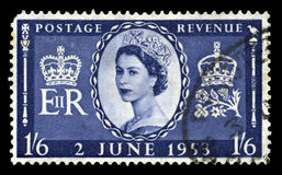 Vintage Postage Stamp Celebrating Queen`s Coronation Stock Photos