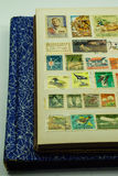 Vintage postage stamp collection stock photography