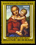 Vintage Postage Stamp From Guinea-Bissau. A vintage postage stamp from Guinea-Bissau  depicting artwork from artist Raffaelo (Raphael)  Sanzio da Urbino royalty free stock photos