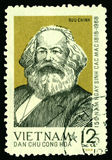 Vintage postage stamp with Karl Marx. Vintage stamp with German philosopher, economist, founder of the theory of communism Karl Marx. Photo taken on: December Royalty Free Stock Images