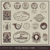 Vintage postage stamps. Vector set: vintage postage stamps - large collection of grunge antique stamps from different countries Stock Photography