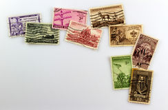 Vintage Postage Stamps. Cancelled United States Postage Stamp corner display stock images