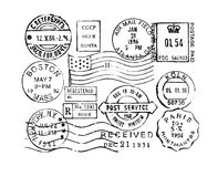 Postage stamps collection. Vintage postage stamps collection of vector stamps vector illustration