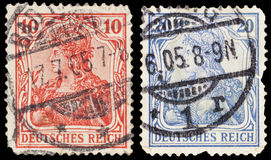 Vintage postage stamps of Deutsches Reich. Set of two vintage postage stamps of Deutsches Reich Royalty Free Stock Images