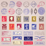 Vintage Postage Stamps, Marks And Stickers. Set of 38 vintage postage stamps, marks and stickers from countries all over the world vector Royalty Free Stock Photo