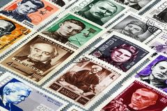Vintage postage stamps of the USSR royalty free stock photo
