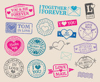 Vintage postage stamps vector set. Romantic date, love, valentines day collection Royalty Free Stock Photography