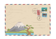 Vintage postal envelope with Japan stamps Royalty Free Stock Images