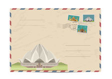 Vintage postal envelope with stamps Royalty Free Stock Photos