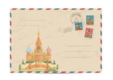 Vintage postal envelope with stamps. Saint Basil Cathedral at Red Square in center of Moscow. Postal envelope with famous architectural composition, postage Royalty Free Stock Photos