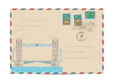 Vintage postal envelope with stamps Royalty Free Stock Image