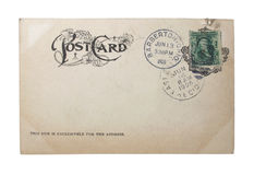 Vintage Postcard. Vintage penny postcard with cancellation, date and postal station stamps Stock Images