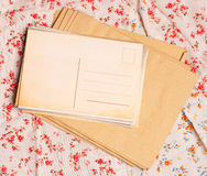 Vintage postcard. Back vintage postcard on flower pattern stock image
