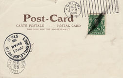 Vintage Postcard 1905. Back of a 1905 postal card or carte postale, showing one cent stamp and three cancels stock photos
