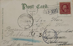 Vintage postcard of 1909. THE NETHERLANDS-CIRCA 1909: Vintage postcard with red two cent stamp and postmarked Hoboken in 1909. Address in Rotterdam, the Stock Photography