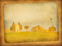 Vintage postcard. With classical tuscan view Royalty Free Stock Photo