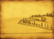 Vintage postcard. With classical tuscan view Royalty Free Stock Photography