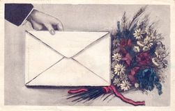 Vintage postcard. Design with flower Royalty Free Stock Photography