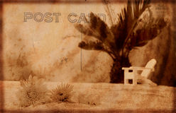 Vintage Postcard. Vintage Grunge Style Postcard Background With Beach Royalty Free Stock Photo