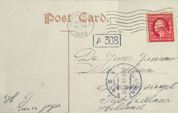 Vintage postcard with american postage stamp and address in Rott royalty free stock photo