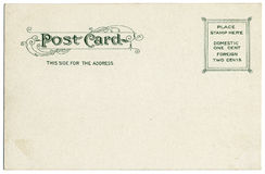 Vintage Postcard Back. The blank backside of an old postcard from the early 20th century Royalty Free Stock Images
