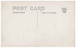 Vintage Postcard Back Artwork 1900s-1910. Artwork of a vintage American 1900s-1910s real photo postcard back RPPC or verso. Blank with text area. Isolated with vector illustration