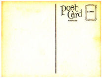 Vintage Postcard  Background. A vintage postcard background with ornate stamp placement and age spots Royalty Free Stock Photos