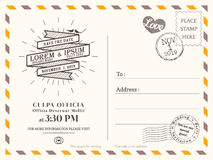 Vintage postcard background template for wedding invitation Royalty Free Stock Photos