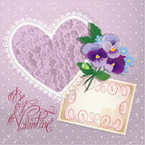 Vintage postcard, beautiful pansy flowers, lace heart Royalty Free Stock Photography