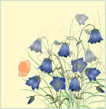 Vintage postcard with bluebell  flower. Stock Photography