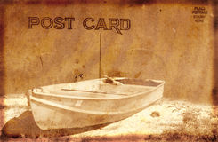 Vintage Postcard With Boat Stock Images