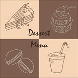 Vintage postcard chocolate dessert menu Stock Image