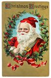 Vintage postcard with Christmas greetings Stock Images