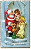 Vintage postcard with Christmas greetings Stock Image