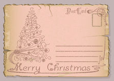 Vintage postcard with Christmas and New Years. Royalty Free Stock Image