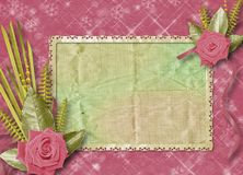Vintage postcard for congratulation with roses Royalty Free Stock Photography