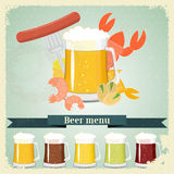 Vintage postcard, cover menu - Beer, beer snack Royalty Free Stock Photo